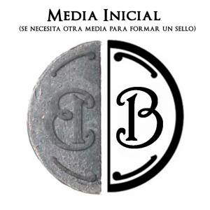 2 Iniciales Intercambiables - Placa Media Inicial B para sello vacío de lacre
