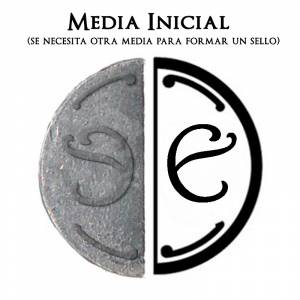 2 Iniciales Intercambiables - Placa Media Inicial E para sello vacío de lacre