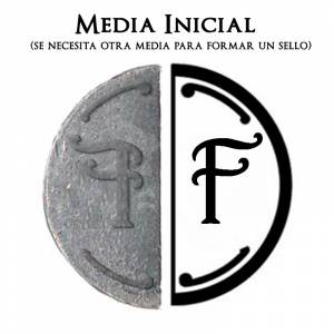 2 Iniciales Intercambiables - Placa Media Inicial F para sello vacío de lacre