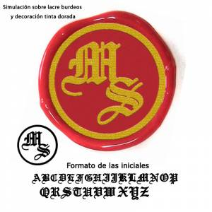 Con NUESTRO diseño - Sello Lacre 2.5 cms. Iniciales medievales