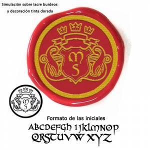 Personalizado con TU diseño - Sello Lacre 3 cms. Escudo con iniciales